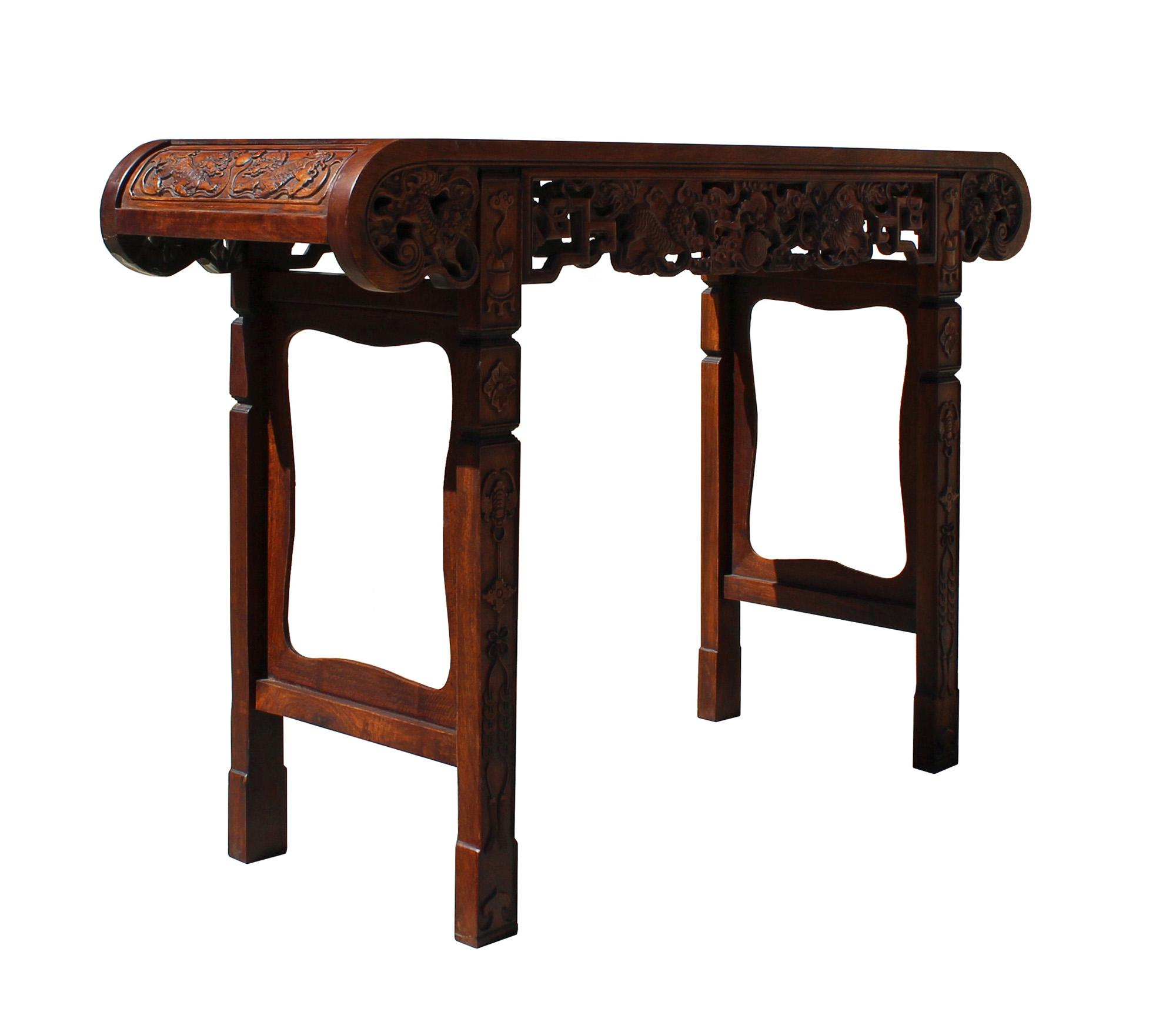 Chinese Brown Huali Rosewood Scroll Foo Dogs Altar Table   Image 6 Of 10