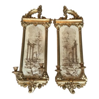Carved Gold Leaf Wall Sconces - A Pair