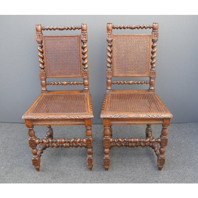 Spanish Style Dining Room: Brown Spanish Style Barley Twist Cane Dining Room Chairs