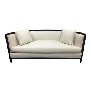 Custom Demi-Lune Cream Leather Sofa
