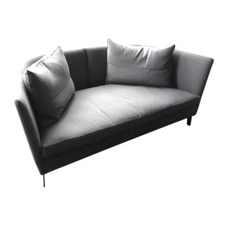 Grey Loveseat With & Black Leather Piping From One of NYC's Nicest Showrooms
