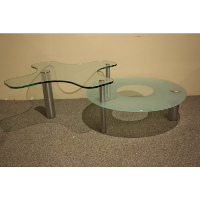 Image of Glass 2-Level Italian Cocktail Table