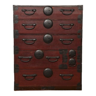 Red Japanese Tansu Chest
