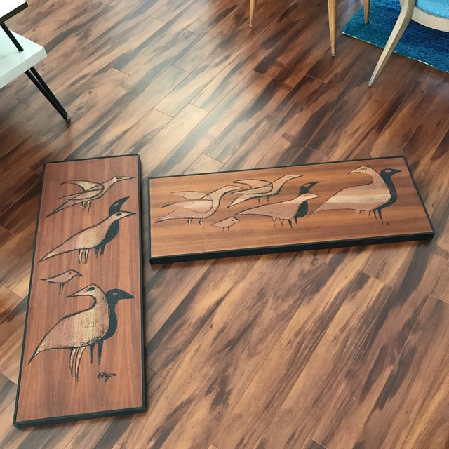 Image of Mid-Century Signed Shadow Box Artwork - A Pair