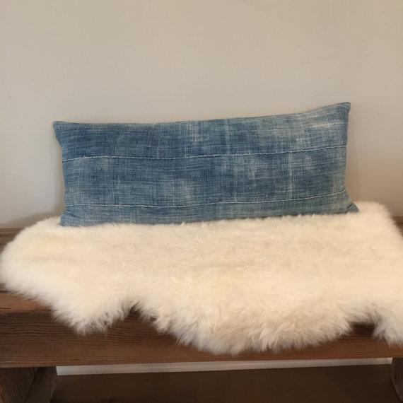 Vintage Indigo Mud Cloth Textile Pillow - Image 2 of 5