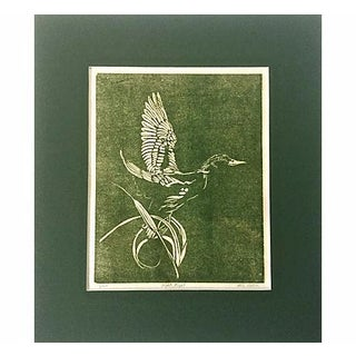 Duck in Flight Vintage Woodblock Print by Mike Nelson