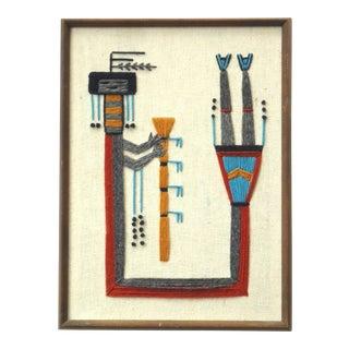 Vintage Southwestern Framed Embroidery