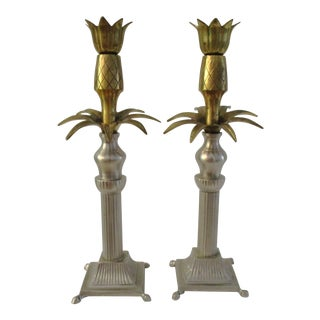 Vintage Pewter & Brass Pineapple Candle Holders - a Pair