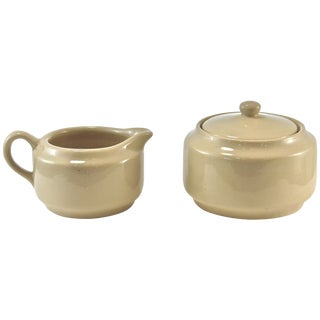 Bisque Cafe Ware Cream & Sugar