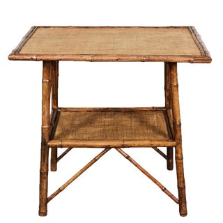 Large Rectangular English Victorian Bamboo Table
