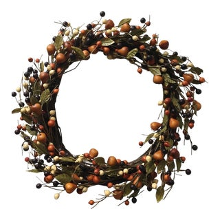 Vintage Fruit and Grapevine Holiday Wreath