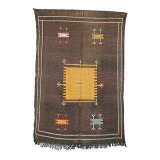 """Brown Vintage Moroccan Cactus Silk Rug - 3'2"""" X 4'10"""""""