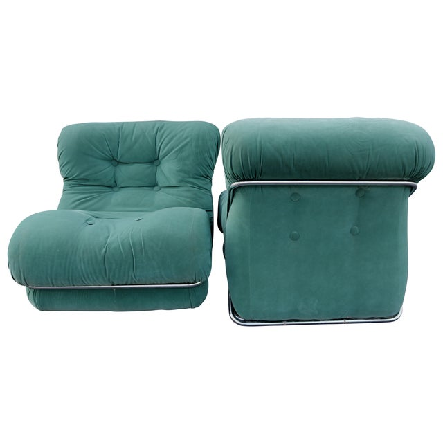 Tobia Scarpa Style Upholstered Chrome Lounge Chairs- A Pair - Image 7 of 8