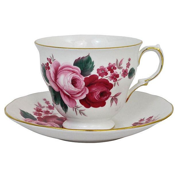Queen Anne Teacup & Saucer - A Pair - Image 1 of 7