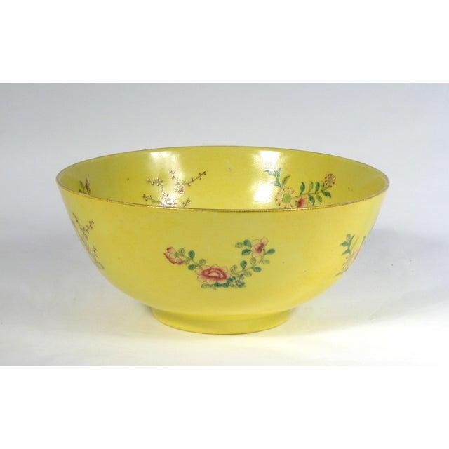 Image of Asian Floral Motif Yellow Porcelain Bowl