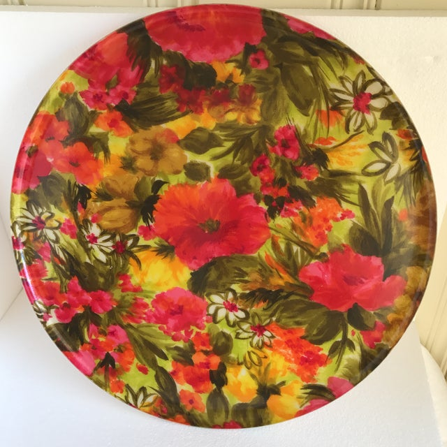 Mid-Century Floral Acrylic Serving Tray - Image 3 of 8