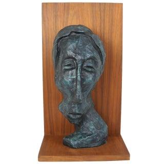 Modernist Fiberglass Bust on Teak