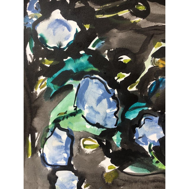 Black Floral Abstract Watercolor Painting - Image 3 of 5