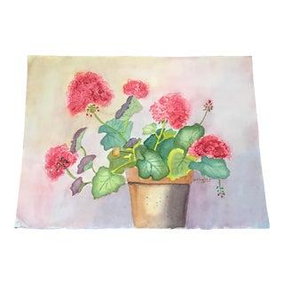 Original Vintage Watercolor Painting of Flowers in a Vase