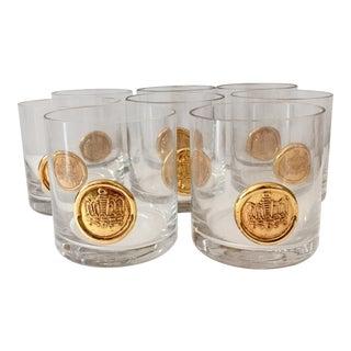 Vintage Gold Crest Medallion Glasses - Set of 8
