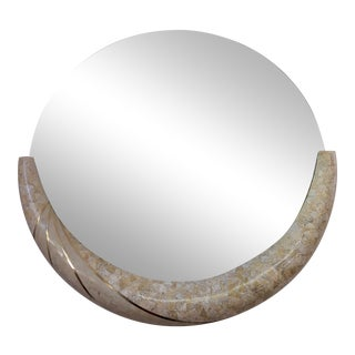 Maitland Smith Tessellated Stone & Brass Round Mirror