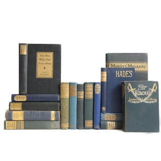 Antique Blue & Green Gilded Books - Set of 15