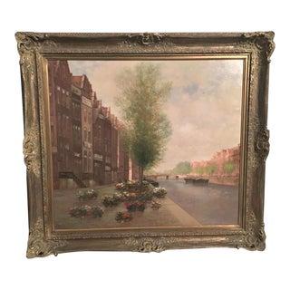 """Anton Kaiser Oil Painting, """"Flower Market"""""""