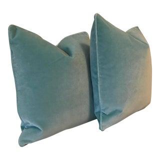 "22"" Solid Aqua Plush Velvet Pillows -- A Pair"