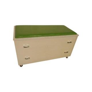 White & Green Wood Bench/Storage Trunk/Chest