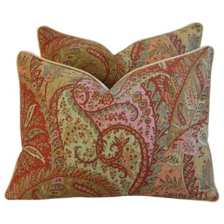 Designer Brunschwig & Fils Paisley Pillows - a Pair