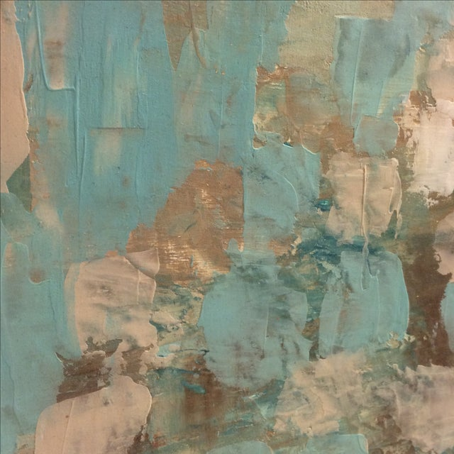 Raw Turquoise Acrylic & Plaster Abstract Painting - Image 4 of 9