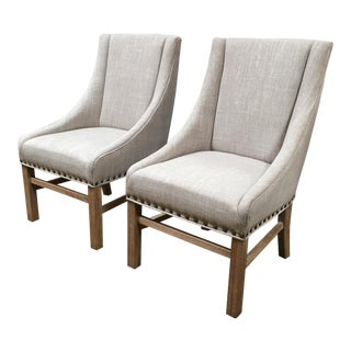 Contemporary Aaron Sloped Arm Linen Chairs - A Pair