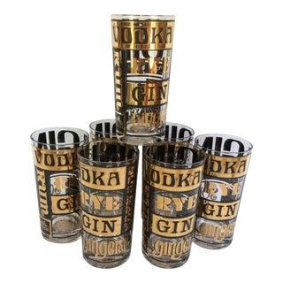 """Culver Ltd. Retro """"Call Drink"""" Hi-ball Glasses - Set of 7"""