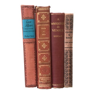 Art Deco Red Book Stack - Set of 4