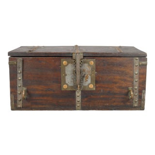 Copper Accented Wooden Box with Key