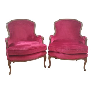 W & J Sloane French Provincial Raspberry Red Velvet Chairs - A Pair