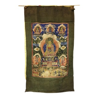 Tibetan Thanka Painted Wall Hanging, Mid 19th Century