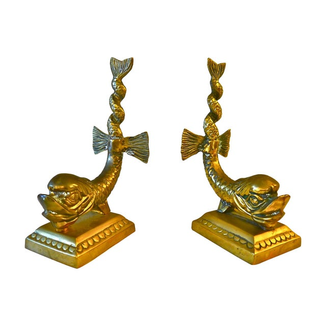 Cast Brass Dolphin Bookends - Image 2 of 5