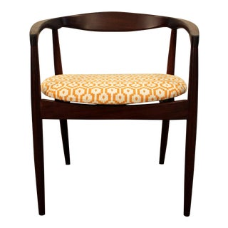 Danish Modern Geometric Pattern Round Teak Arm Chair