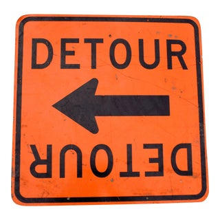 Vintage Orange & Black Metal Detour Sign