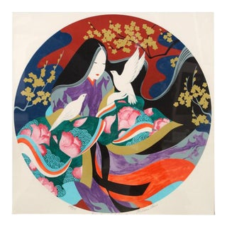Beauty and Dove Serigraph by Miharu Lane