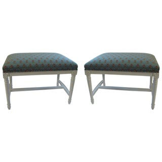 A Pair of Louis XV Style French Country Upholstered Benches