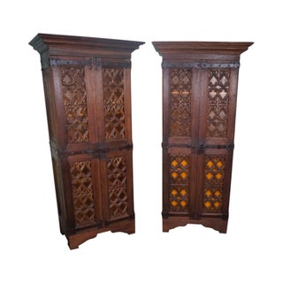 Spanish Colonial Walnut Cabinets Armoires - A Pair