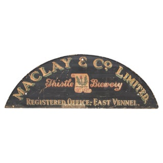 Monumental Hand Painted Antique Thistle Brewery Sign