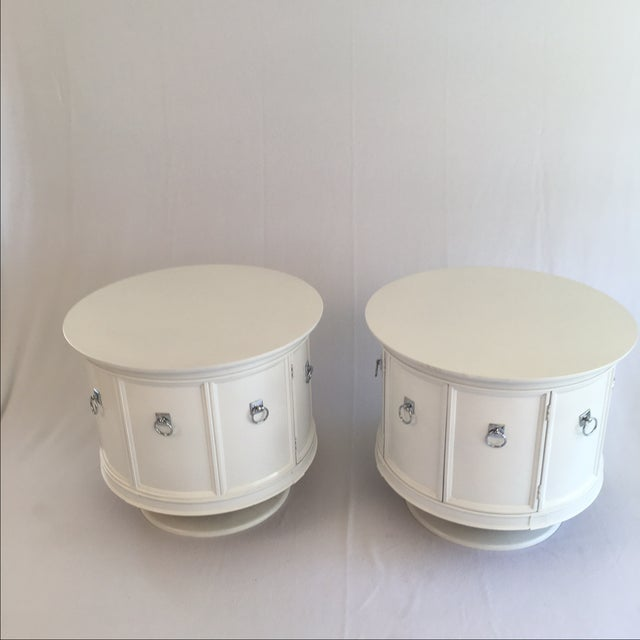 Mid-Century White Drum Shaped Side Tables - Pair - Image 2 of 4