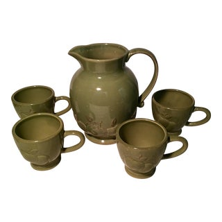 Mid-Century Modern Avocado Green Pitcher & Mugs- Set of 5