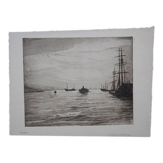 "Original Pencil Signed Antique Engraving ""Harbor"" By A. G. Mitchell"