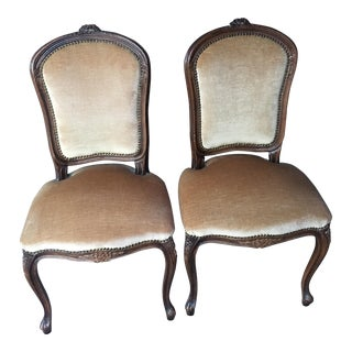 Vintage French Velvet Accent Chairs - A Pair
