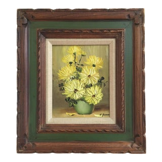 Vintage Oil Painting Yellow Flowers in a Green Vase, Signed