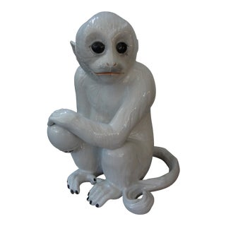 C. 1960 Italian Glazed Pottery Monkey Sculpture
